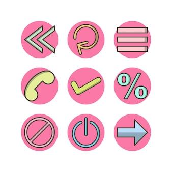 9 grundlegende elemente ikonen-blatt lokalisiert auf weiß