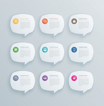 9 infografiken mit bubble speech template design.