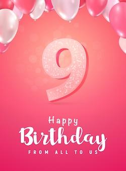 9-jähriges jubiläum feiern. die neunjährige geburtstagsfeier.
