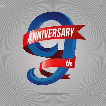 9 jahre jubiläumsfeier logo Premium Vektoren