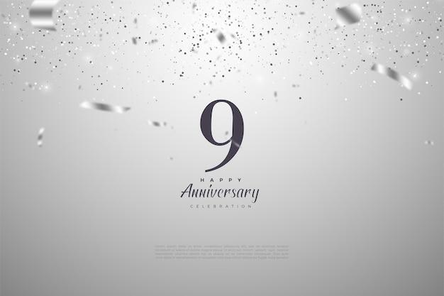 9. jahrestag mit nummer und silbernem konfetti.