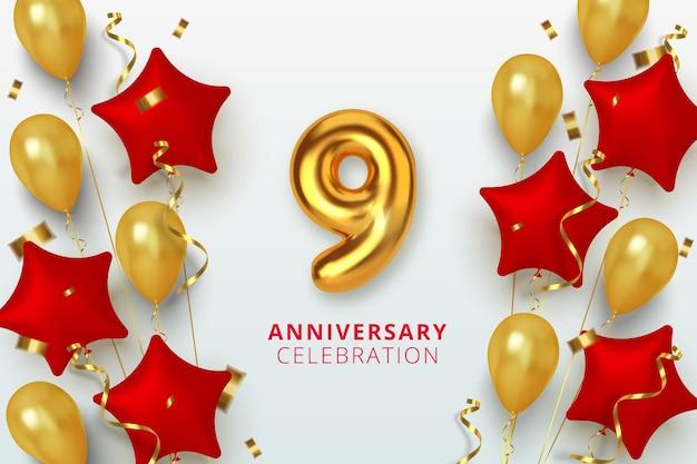 9 jubiläumsfeier nummer in form eines sterns aus goldenen und roten luftballons. realistische 3d-goldzahlen und funkelndes konfetti, serpentin.