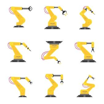 9 roboterarm flache design-vektor-illustration set icons zeichen isoliert auf weißem hintergrund rob