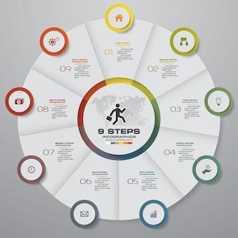 9 schritte zyklus diagramm infografiken elemente.