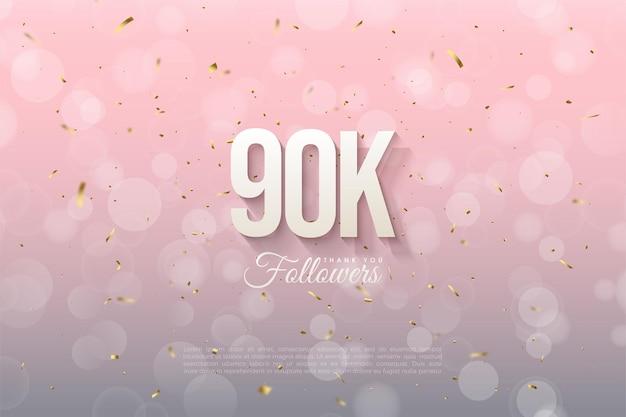 90.000 follower mit leicht schattierten zahlen.