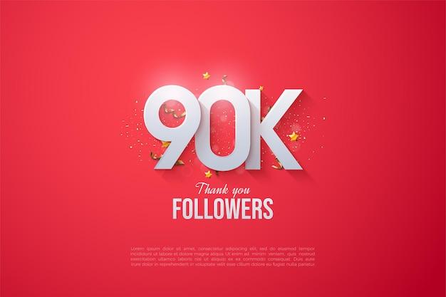 90.000 follower mit überlappenden zahlen.