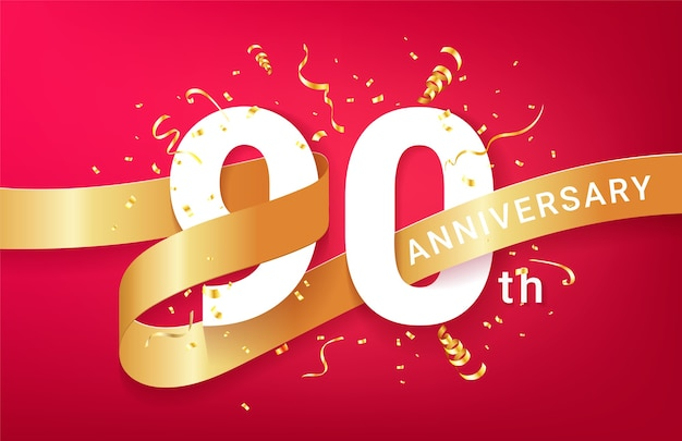 90. jubiläumsfeier banner vorlage. große zahlen mit funkelnden goldenen konfetti und glitzerndem band.