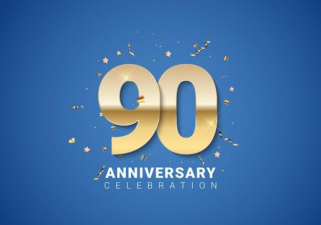 90 jubiläumshintergrund mit goldenen zahlen, konfetti, sternen auf hellblauem hintergrund. vektor-illustration eps10