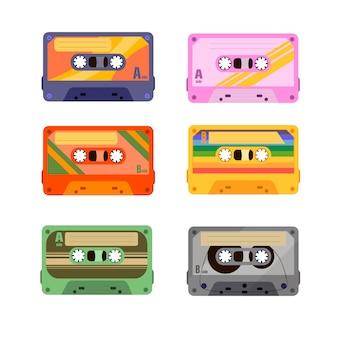 90 s disco dance audiokassette, player-aufnahmeband. nahtloses muster mit einer retro-kassette.