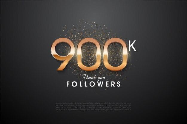 900.000 follower mit leuchtenden zahlen