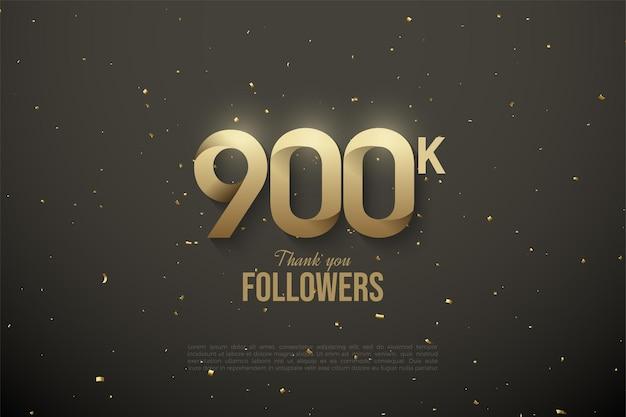 900.000 follower mit sanft gemusterten zahlen