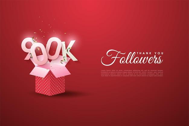 900.000 follower mit zahlen über der offenen box