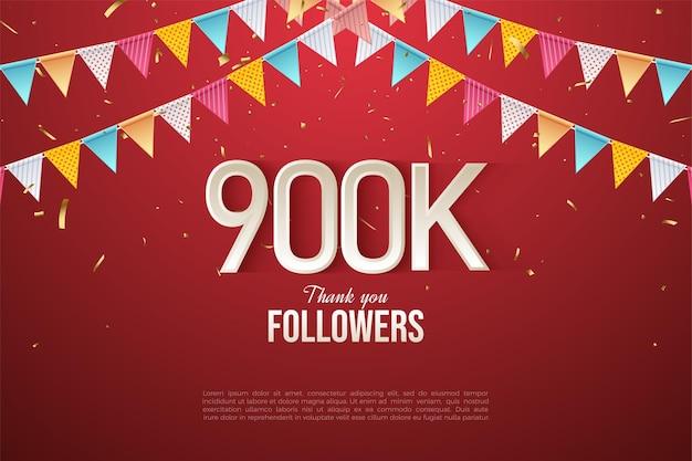 900.000 follower mit zahlen unter der flaggenreihe
