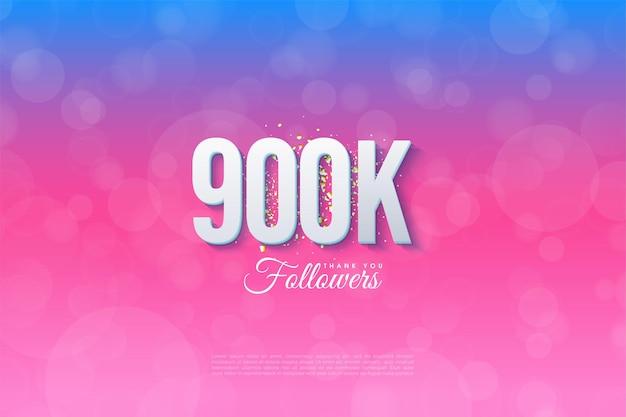 900k follower-hintergrund auf einem blauen hintergrund mit farbverlauf