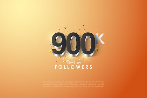 900k follower hintergrund mit silberner ziffernbeschichtung