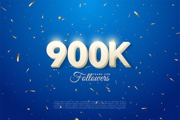 900k follower-hintergrund mit weißer ziffernüberlagerung