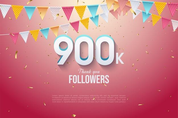 900k follower-hintergrund mit zahlenschicht und zwei reihen von flaggen