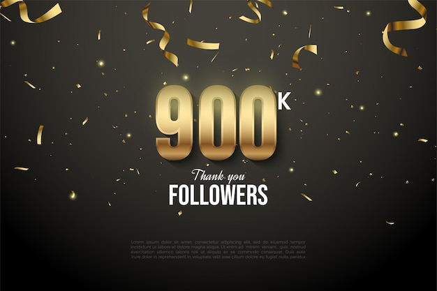 900k follower mit goldenen zahlen und goldenem bandtropfen