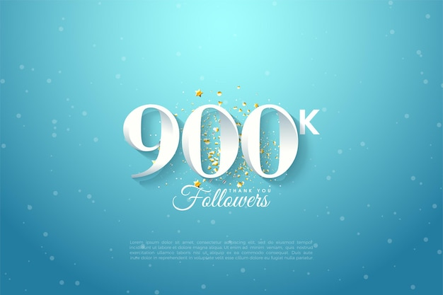 900k follower mit hintergrundillustration des blauen himmels