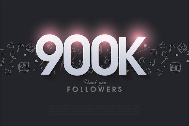 900k follower mit leuchtenden zahlen illustration