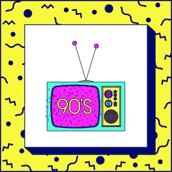 90er jahre label mit retro-tv