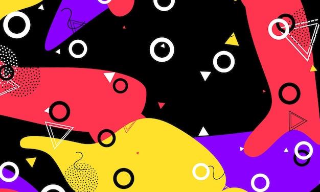 90er jahre muster. flüssige elemente. abstrakte zeitgenössische komposition. schwarzes grafikdesign.