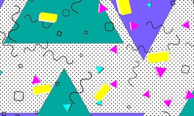 90er jahre muster. pop-art-farbhintergrund. hipster-stil der 80er-90er jahre. abstrakter bunter funky hintergrund.