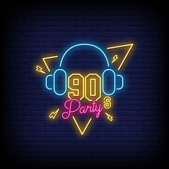 90er jahre party neon signs stil