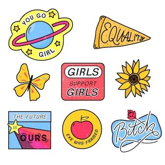 90er jahre patches mit feministischen slogans you go girl girls support girls bitch sign 80er style pin-design