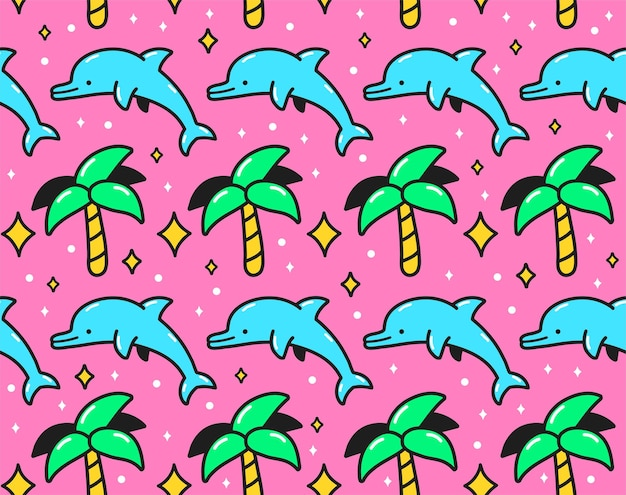 90er jahre rosa retro-vintage-palme und sprungdelfin nahtlose muster. vektor-cartoon-doodle-charakter-illustration tapetendesign. 90er, 80er jahre, delphin, palmendruck für poster, t-shirt nahtloses musterkonzept