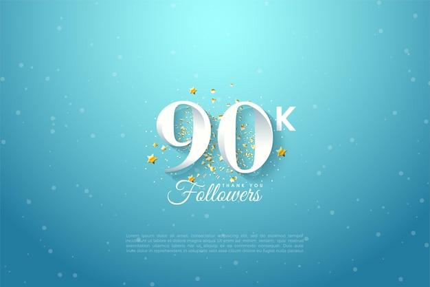 90k anhänger mit numerischer illustration über blauem himmel.