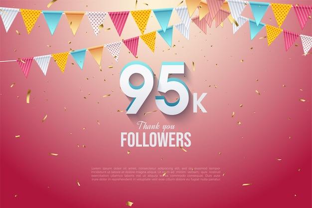 95k follower mit zahlen und flaggen