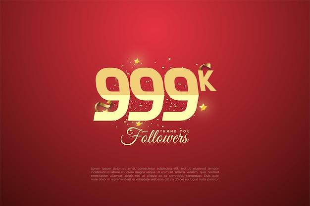 999.000 follower mit abgestuften zahlen