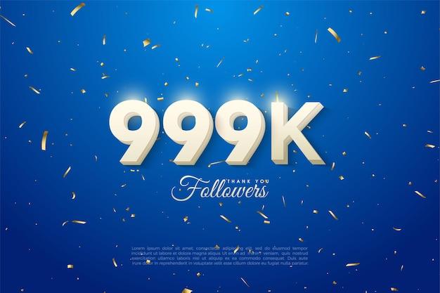 999.000 follower mit durchgehend weißen zahlen