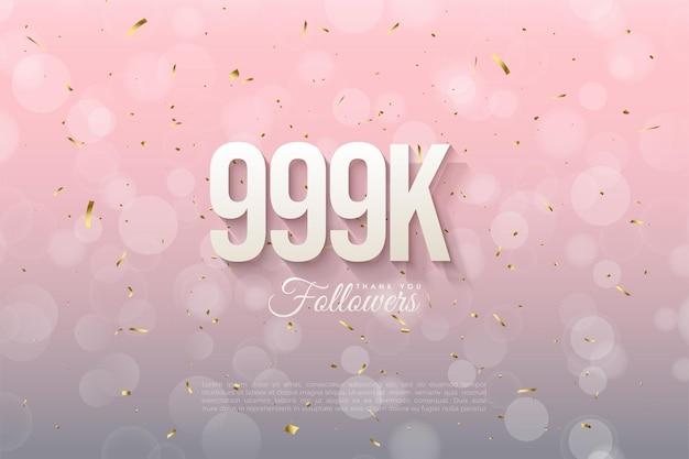 999.000 follower mit sanft schattierten zahlen