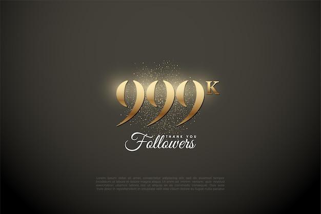 999k follower mit goldenen zahlen und glitzer