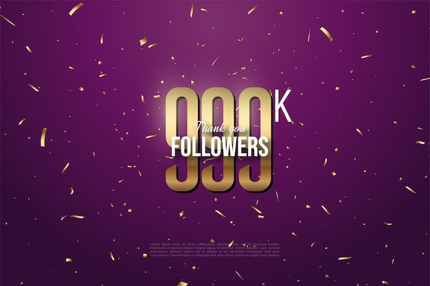 999k follower mit goldenen zahlen und punkten im hintergrund