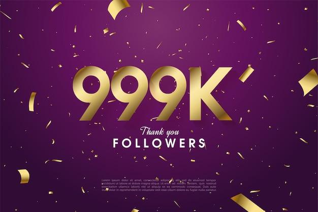 999k follower mit verstreuten zahlen und goldfolie