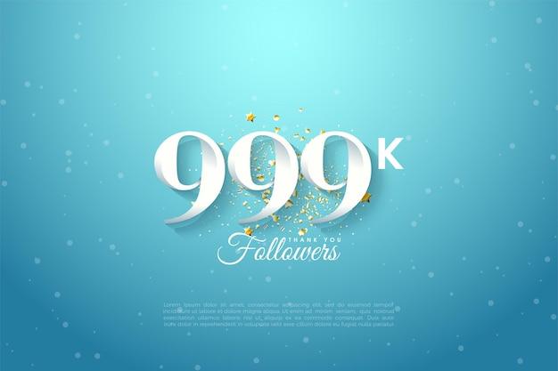 999k follower mit zahlen auf himmelblauem hintergrund