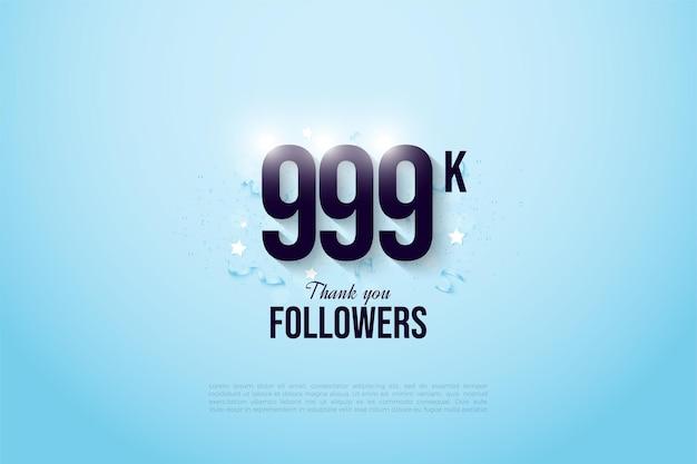 999k follower mit zahlen auf leuchtend blauem hintergrund