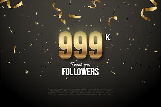 999k follower mit zahlen und goldband-tropfen