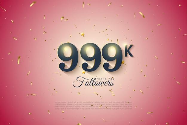 999k follower mit zahlen und hintergrund mit farbverlauf
