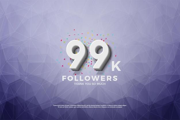 99k follower auf kristallpapierhintergrund