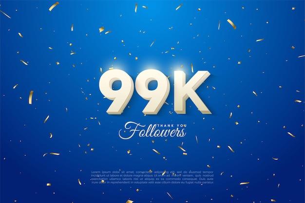99k follower mit fetten weißen zahlen auf blauem hintergrund