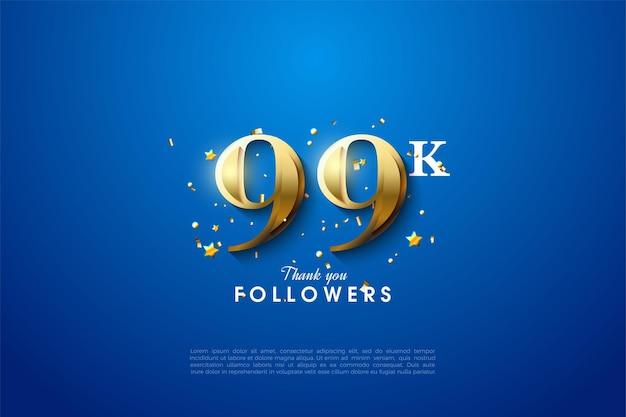 99k follower mit goldenen zahlen auf blauem hintergrund