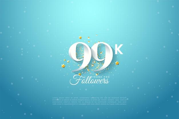99k follower mit hintergrundillustration des blauen himmels