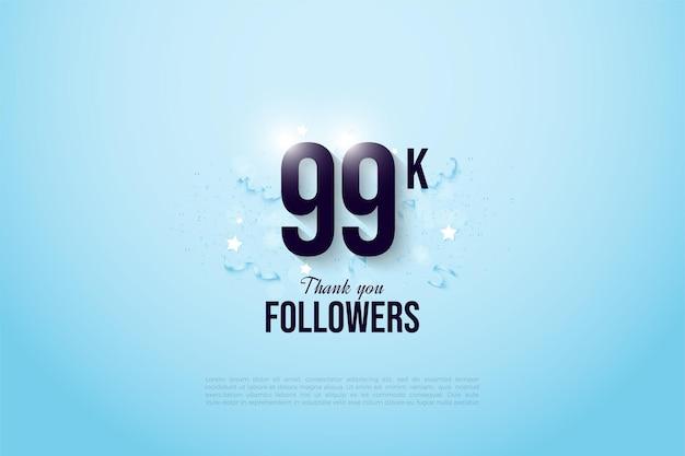 99k follower mit zahlen auf hellblauem hintergrund
