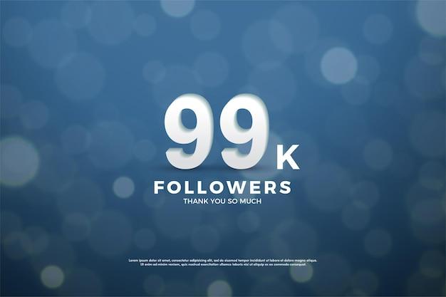 99k follower mit zahlen und bokeh-hintergrund