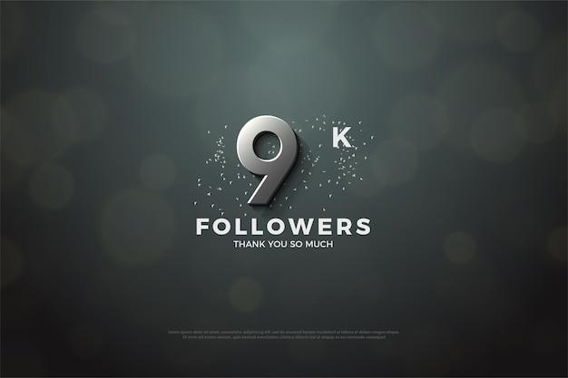 9k follower mit 3d-silberzahlen