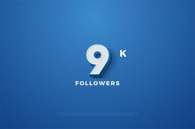 9k follower mit geprägten 3d-zahlen